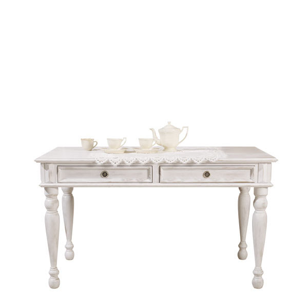 Landhaus Tisch 140x200 Cm 2 Schubladen, Farbe: Alt Weiß