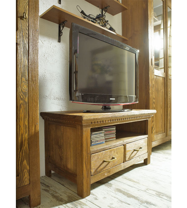 tv fernsehschrank klein mit 2 schubladen massiv aus holz. Black Bedroom Furniture Sets. Home Design Ideas