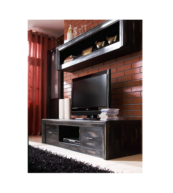 tv lowboard mit 2 schubladen modern massiv aus holz. Black Bedroom Furniture Sets. Home Design Ideas