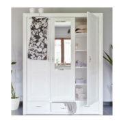 Weißer 3-türiger Kleiderschrank Massivholzmöbel