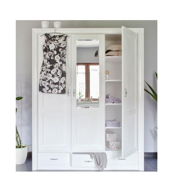 Weißer 3-türiger Kleiderschrank Massivholzmöbel - MASSIV AUS HOLZ