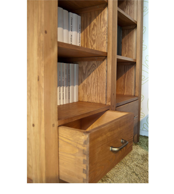 b cherregal mit 2 schubladen klein klassisch massiv aus holz. Black Bedroom Furniture Sets. Home Design Ideas
