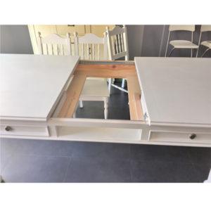 Landhaus-Ausziehtisch mit mittiger Platte 30-50 cm