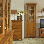 Vitrine mit Glastür Burgund aus Massivholz