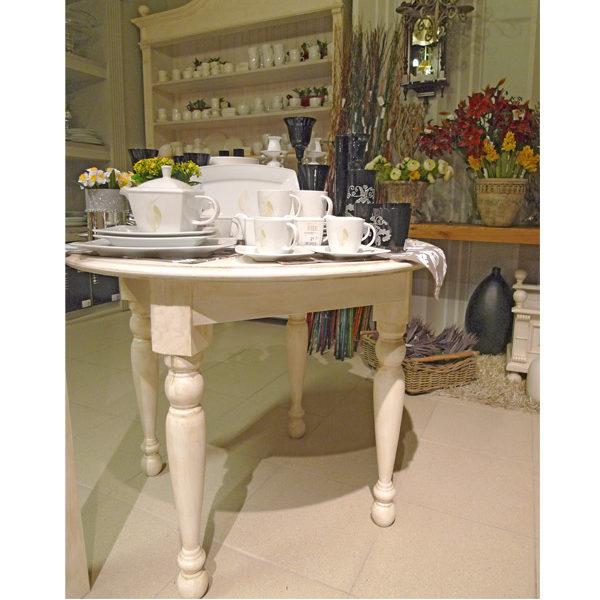 Runder Esstisch in Antik-Weiß