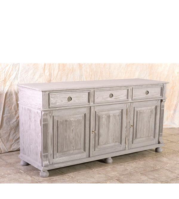 Individuelles Sideboard 3-türig mit 3 Schubladen, Farbe: Grau gebürstet im Shabby Chic Stil