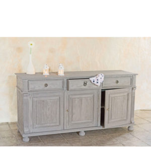 Wohnzimmerschrank in Grau, Sideboard 3-türig mit Schubladen