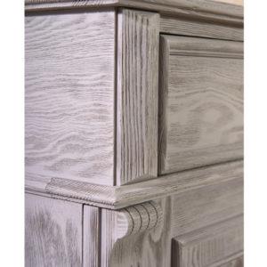 Wohnzimmerschrank aus Holz, Holzoberfläche gebürstet, Farbe: Grau