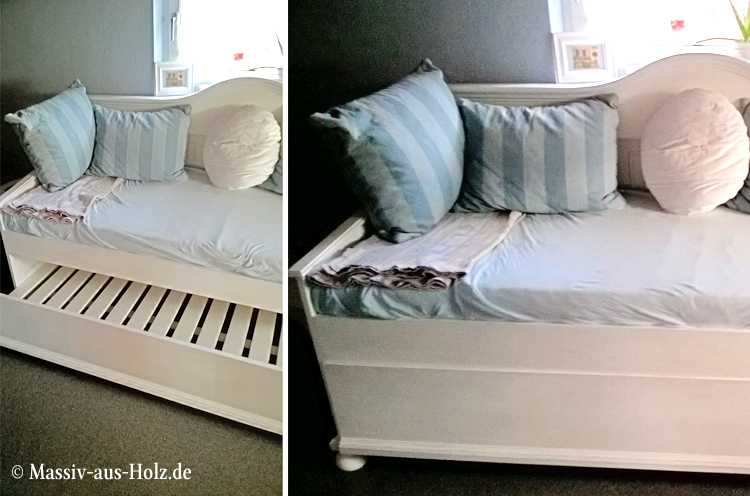 Landhaus Bett mit Lehne und Unterbett
