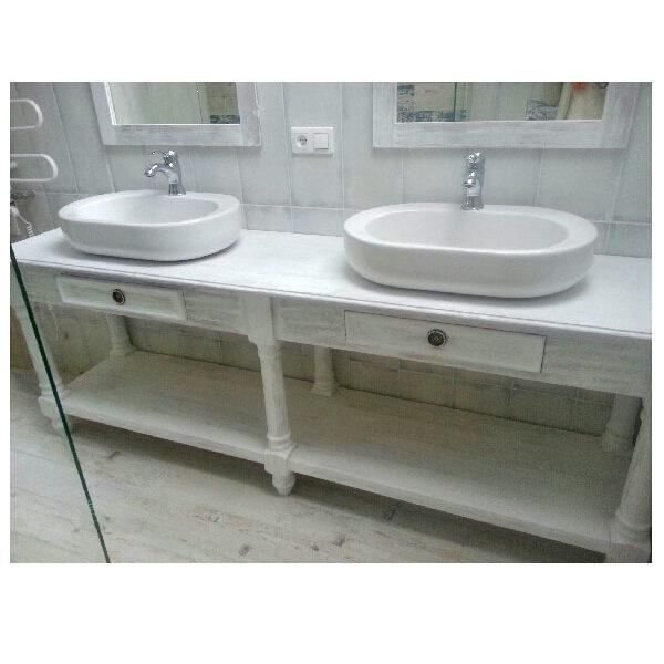 Weißer Waschbeckenunterschrank, Badschrank Landhausmöbel