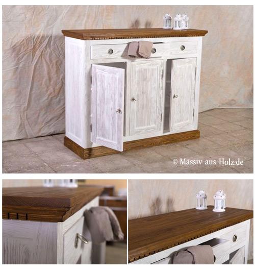 Wohnzimmerschrank in Alt weiß gewischt/gebürstet - braun