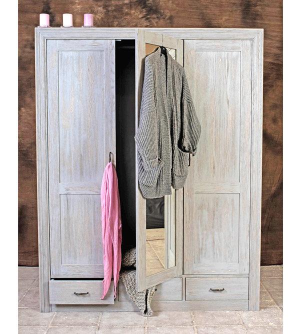 3-türiger Schrank mit Spiegel im Schlafzimmer - Grau Farbe