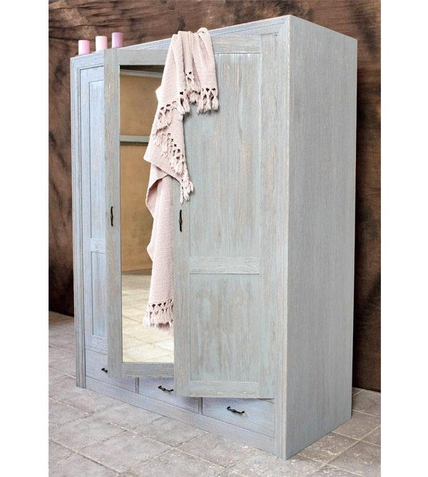 3-türiger Kleiderschrank mit Spiegel in Grau gewischt und gebürstet
