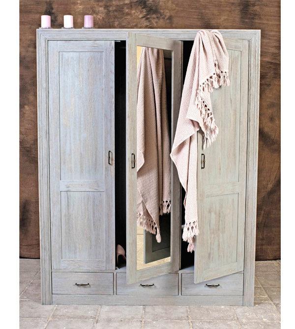 Massivholz-Kleiderschrank mit Spiegel in Farbe Platin Grau