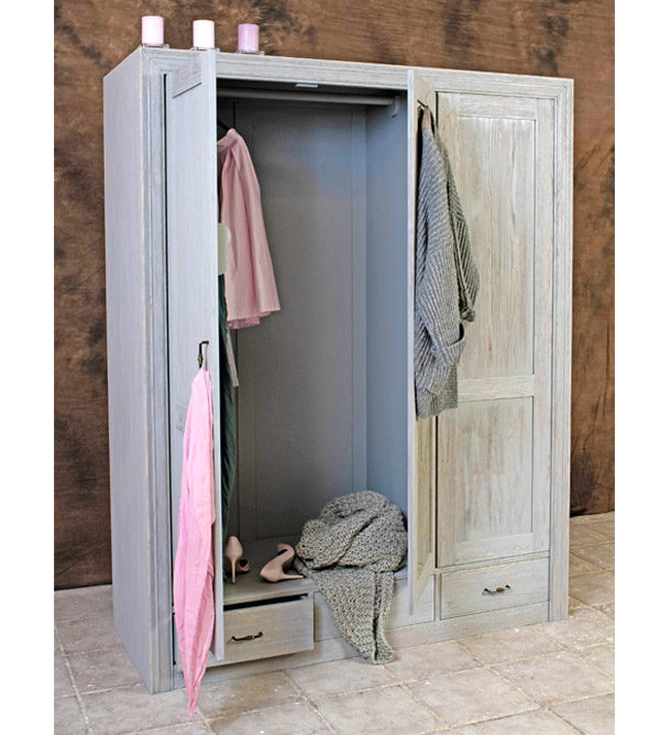 Kleiderschrank ohne Spiegel - Frabe Grau Platin gewischt