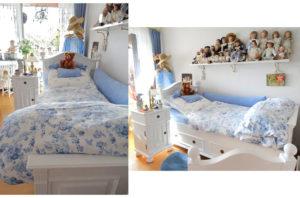 Landhausbett in Weiß, romantisch mit zartem Himmelblau