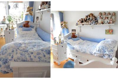 Landhausbett in Weiß mit zartem Himmelblau