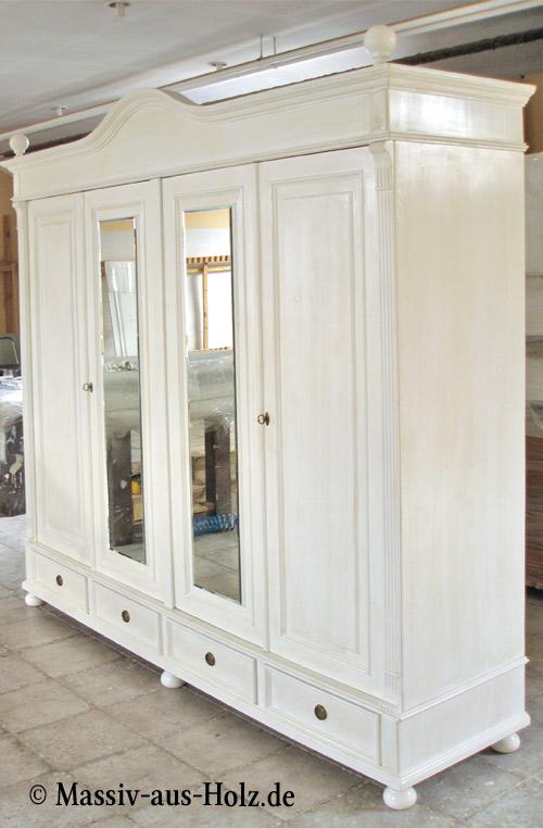4-türiger Kleiderschrank mit 2 Spiegeln