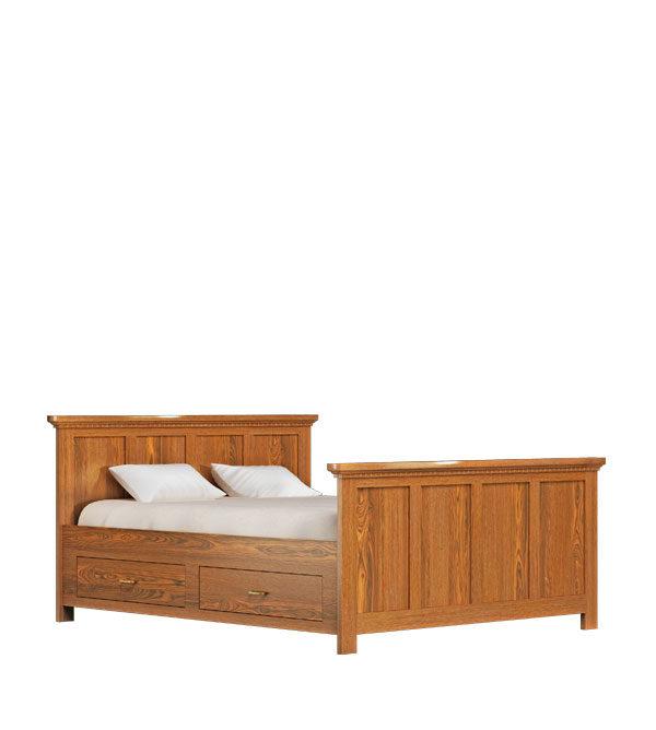 Bett 160x200 cm Naturwachs mit Schubladen
