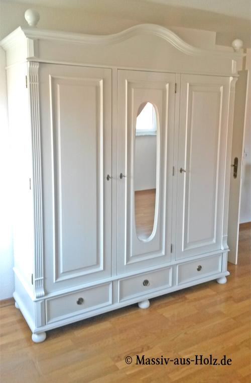 Fesselnd Weißer Landhaus Kleiderschrank Mit Spiegel, Kiefer Massiv Holz