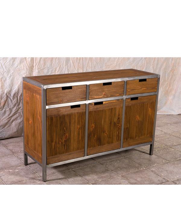 Industrie Möbel Sideboard aus Holz und Metall