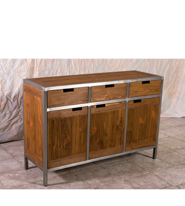 sideboard im industriedesign 3 t rig 3 schubladen massiv aus holz. Black Bedroom Furniture Sets. Home Design Ideas