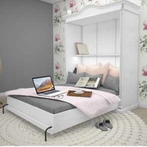 Großes Landhaus Schrankbett 180x200 cm Doppelbett Wandbett wahlweise hoch oder quer