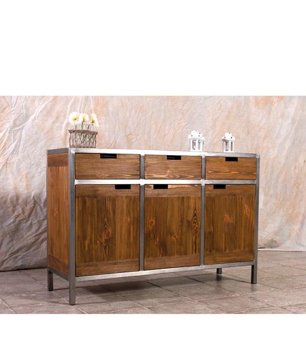 Sideboard Im Industriedesign 3 Turig 3 Schubladen Massiv Aus Holz