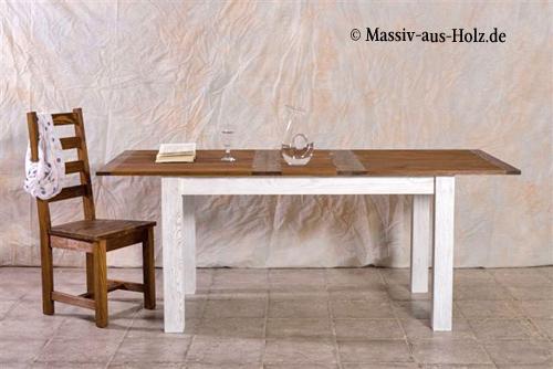Schlichter Massivholztisch - ausziehbar mit mittiger Platte, zweifarbig Weiß und Braun