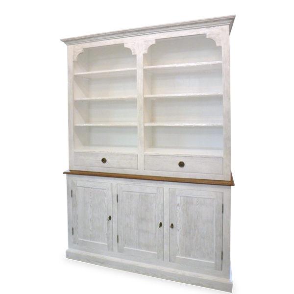 Küchenschrank mit Aufsatz klein 3-türig 3 Schubladen - MASSIV AUS HOLZ