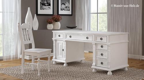 Schreibtisch Vedene Im Landhausstil, Farbe: Weiß