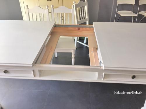 Ausziehtisch im Landhausstil mit Schubladen in Weiß