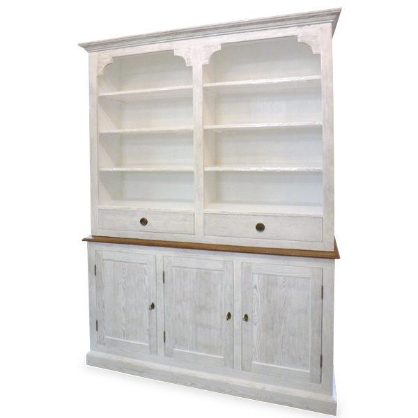 Küchenschrank mit Aufsatz groß 3-türig 3 Schubladen - MASSIV AUS HOLZ