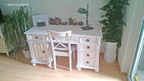Landhaus Schreibtisch in Weiß aus massivem Kiefernholz