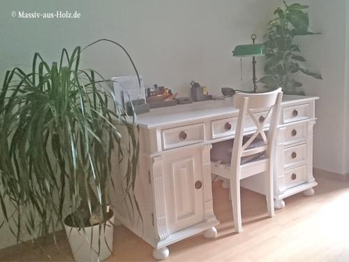 Landhaus Schreibtisch Vedene in Weiß - Kunden-Foto