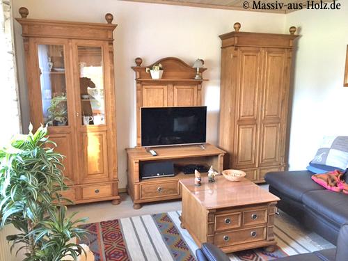 Wohnzimmer im Stil gewachster Landahusmöbel