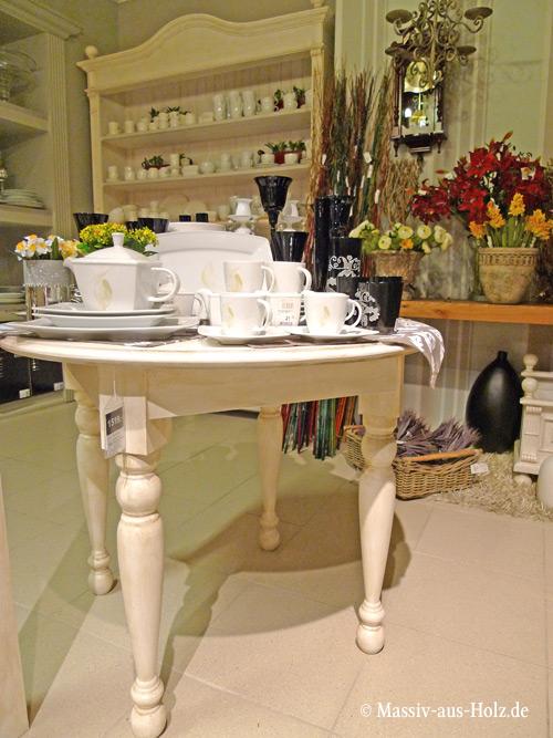Runder Tisch im Landhausstil in Antik weiß