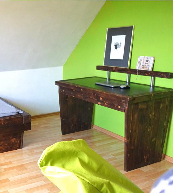 Schreibtisch dunkelbraun aus Holz