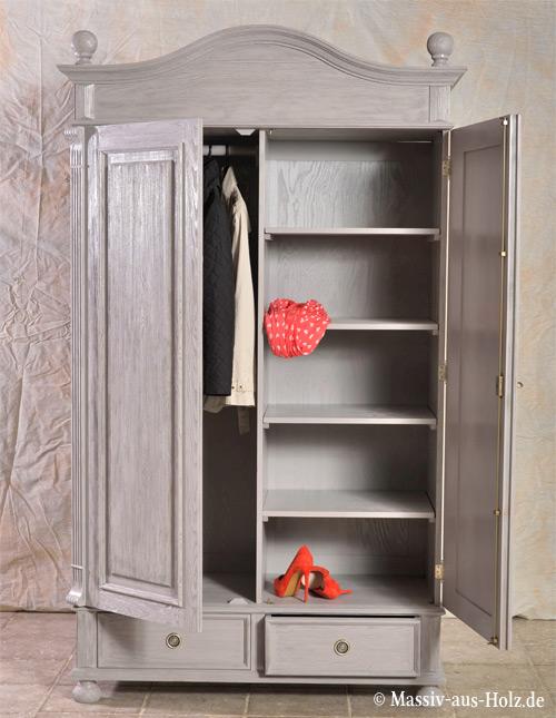 Garderobenschrank 2-türig mit 2 Schubladen in Platin gebürstet