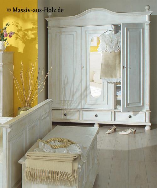 Landhausschrank 3-türig mit Spiegel, Farbe: Antik weiß