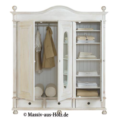 Spiegel im Landhausschrank 3-türig, Farbe Antik weiß, leicht vanillefarben (eierschalenfarben)