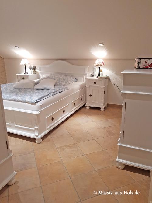 Landhausbett VEDENE mit 4 Schubladen