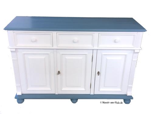 Anrichte 3-türig mit 3 Schubladen in Pastellblau und Weiß