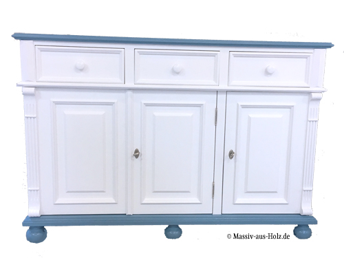 Weiß-Blaue Kommode 3-türig mit 3 Schubladen
