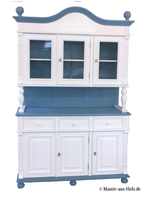 Buffetschrank für Küche 2-farbig Blau-Weiß