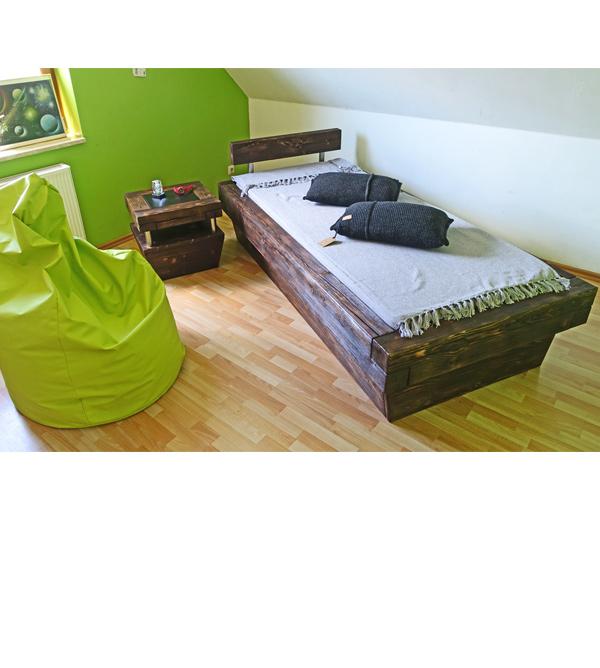 Kinderzimmermöbel holz  Bett im Urban Look 90x200 cm aus Balkenholz - MASSIV AUS HOLZ
