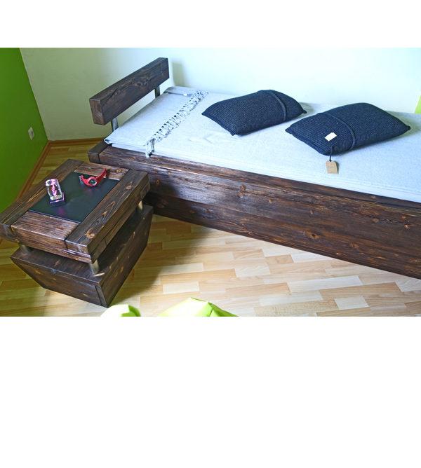 Massivholzbet 90 cm aus Balkenholz