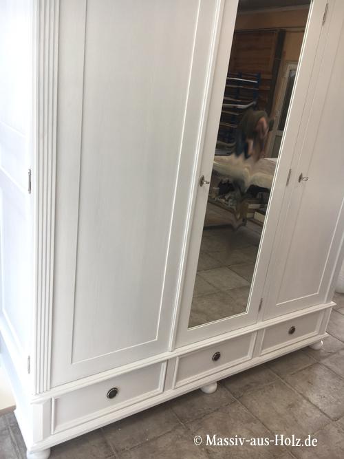3-türiger Kleiderschrank mit Spiegel und Schubladen
