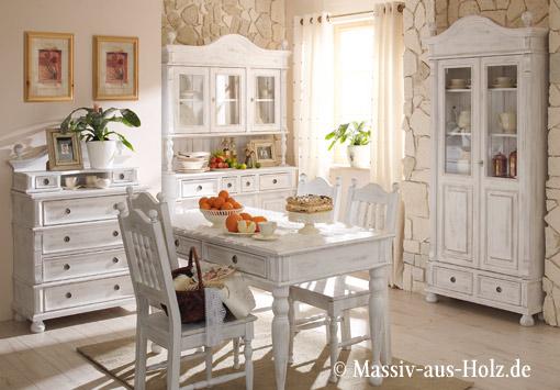 Esszimmer im Cottage Style - in Shabby Chic Weiß (leicht gewischt)