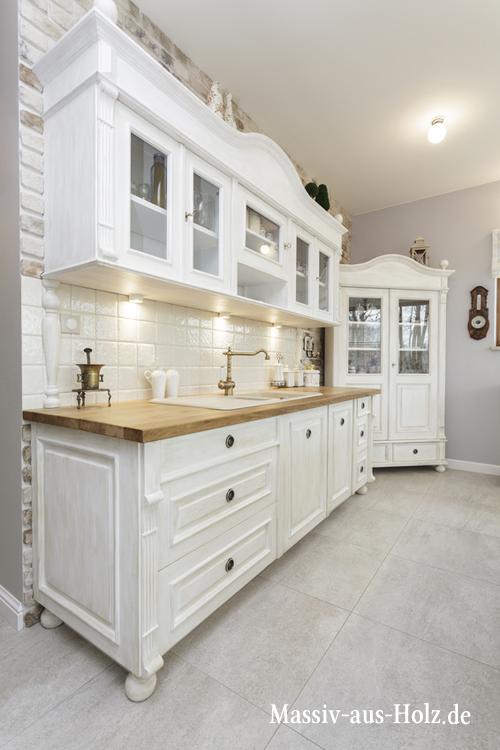 Küchenzeile im Landhausstil -white cottage kitchen